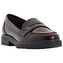 Buy Dune Gleat Cleated Sole Loafers, Burgundy Leather Online at johnlewis.com