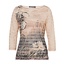 Buy Betty Barclay Stripe Floral Print T-Shirt, Rose Online at johnlewis.com