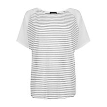 Buy Warehouse Stripe Circle Cape Top, White / Black Online at johnlewis.com