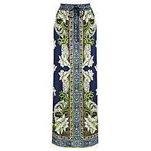Buy Warehouse Border Floral Maxi Skirt, Navy Online at johnlewis.com