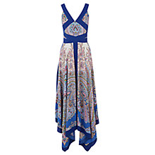 Buy Oasis Paisley Placement Maxi Dress, Mid Blue Online at johnlewis.com