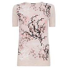 Buy Warehouse Blossom Front Tee, Beige Online at johnlewis.com