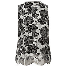 Buy Oasis Organza Scallop Shell Top, Multi Black Online at johnlewis.com