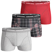 Buy Bjorn Borg Basic Check Trunks, Pack of 3, Black/Red Online at johnlewis.com