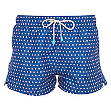 Buy Oiler & Boiler Tuckernuck  Dot Print Shortie Swim Shorts, Navy Online at johnlewis.com