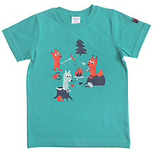Buy Polarn O. Pyret Children's Animal Picnic T-Shirt, Green Online at johnlewis.com