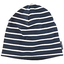 Buy Polarn O. Pyret Baby's Striped Beanie, Blue/Navy Online at johnlewis.com
