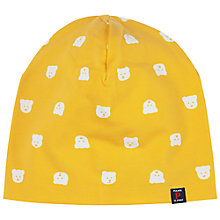 Buy Polarn O. Pyret Children's Bear Print Beanie Hat, Yellow Online at johnlewis.com