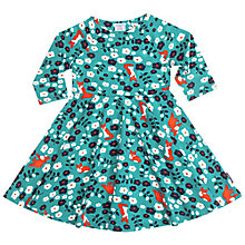 Buy Polarn O. Pyret Girls' Fox Floral Print Dress, Green/Multi Online at johnlewis.com
