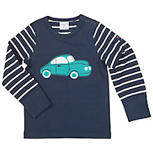 Buy Polarn O. Pyret Baby's Striped Car Long Sleeve T-Shirt, Blue Online at johnlewis.com