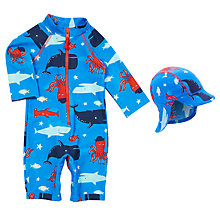 Buy John Lewis Baby Sea Life Rash Vest Swimsuit & Hat, Blue Online at johnlewis.com