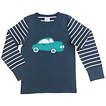 Buy Polarn O. Pyret Boy's Striped Car Long Sleeve T-Shirt, Blue Online at johnlewis.com