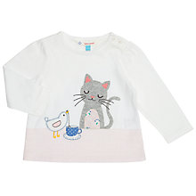 Buy John Lewis Baby Cat and Bird Long Sleeve Top, Cream Online at johnlewis.com