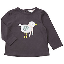 Buy John Lewis Baby Bird Applique Top, Charcoal Online at johnlewis.com