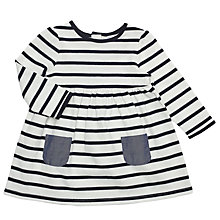 Buy John Lewis Baby Stripe Jersey Dress, Navy/White Online at johnlewis.com
