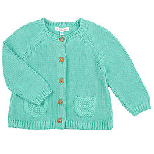 Buy John Lewis Baby Knit Cardigan, Green Online at johnlewis.com