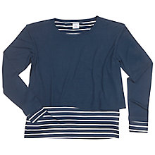 Buy Polarn O. Pyret Girls' Striped Layer Top, Navy Online at johnlewis.com