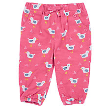Buy John Lewis Baby Bird Print Trousers, Pink Online at johnlewis.com