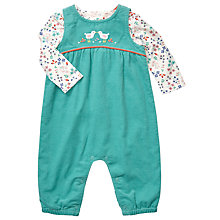 Buy John Lewis Baby Cord Dungaree and Floral Top Set, Green/Multi Online at johnlewis.com