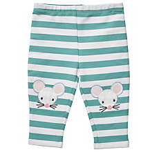 Buy John Lewis Baby Mouse Stripe Leggings, Green Online at johnlewis.com