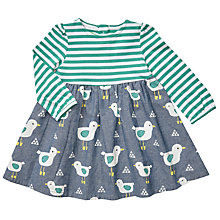 Buy John Lewis Baby Stripe Bird Dress, Blue/Green Online at johnlewis.com