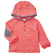 Buy John Lewis Baby Chambray Trim Hoodie, Red Online at johnlewis.com