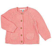 Buy John Lewis Baby Knitted Cardigan, Pink Online at johnlewis.com