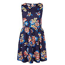 Buy John Lewis Girls' Floral Print Peter Pan Collar Dress, Navy Online at johnlewis.com