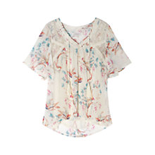 Buy East Song Bird Print Blouse, Pearl Online at johnlewis.com