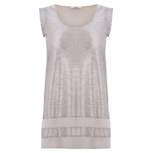 Buy Oasis Square Foil Print Longline Vest Top, Pale Pink Online at johnlewis.com