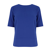 Buy Warehouse Panelled Boyfriend Top, Bright Blue Online at johnlewis.com