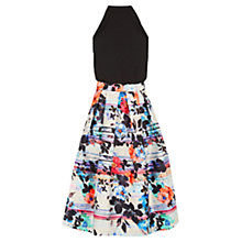 Buy Warehouse Stripe Floral Midi Dress, Multi Online at johnlewis.com