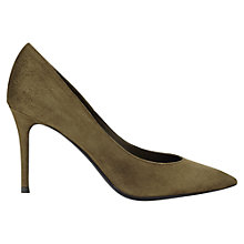 Buy Jigsaw Natalya Suede Pointed Court Shoes, Khaki Online at johnlewis.com