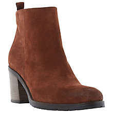Buy Dune Black Phelix Suede Block Heel Ankle Boots, Red Online at johnlewis.com
