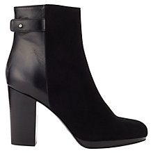 Buy Jigsaw Erica Suede Block Heel Ankle Boots, Black Online at johnlewis.com