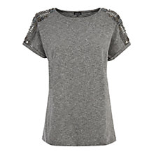 Buy Warehouse Embellished Shoulder T-Shirt, Light Grey Online at johnlewis.com