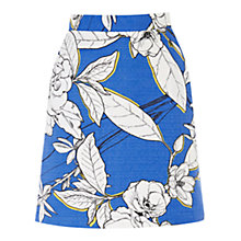 Buy Warehouse Impact Floral Skirt, Bright Blue Online at johnlewis.com