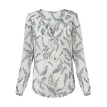 Buy Jigsaw Fern Print Silk Blouse, Ivory Online at johnlewis.com