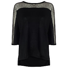 Buy Phase Eight Sarina Sheer Knit Top, Black Online at johnlewis.com