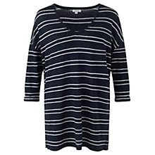 Buy Jigsaw Linen Stripe Slouchy Top, Navy Online at johnlewis.com