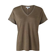 Buy Jigsaw Linen V-Neck Silk Mix Top Online at johnlewis.com