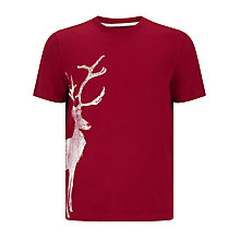 Buy John Lewis Vintage Reindeer Organic Cotton T-Shirt, Red Online at johnlewis.com