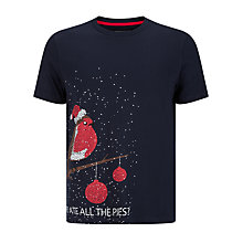 Buy John Lewis Christmas Robin Organic Cotton T-Shirt, Navy Online at johnlewis.com