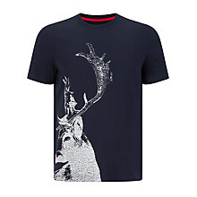 Buy John Lewis Vintage Stag Organic Cotton T-Shirt, Navy Online at johnlewis.com