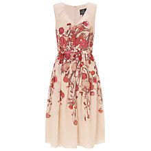 Buy Adrianna Papell Deep V-Neck Fit And Flare Dress, Blush/Multi Online at johnlewis.com