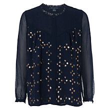 Buy French Connection Million Stars Embellished Shirt, Nocturnal / Bronze Online at johnlewis.com