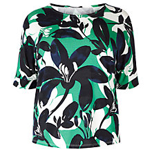 Buy Windsmoor Flower Jersey Top, Multi Green Online at johnlewis.com