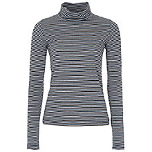 Buy French Connection Starzy Stripe Roll Neck Top, Black / Silver Online at johnlewis.com