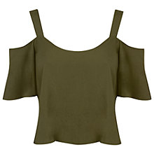 Buy Miss Selfridge Petite Gypsy Cami Top, Khaki Online at johnlewis.com