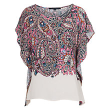 Buy French Connection Sundown Drape Top, Ziggy Pink Multi Online at johnlewis.com